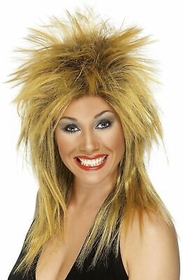 80s Rock Diva Wig Blonde Tina Turner Mullet Ladies Fancy Dress Costume Accessory](Tina Turner Costume)