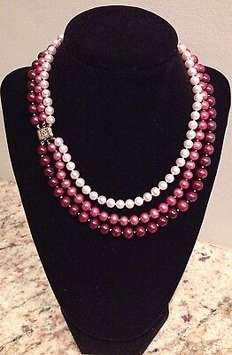 Cultured Freshwater Pink, Mauve & Cranberry Pearl Triple Strand 14K 18