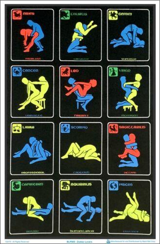 Zodiac Positions Blacklight Poster 23 x 35