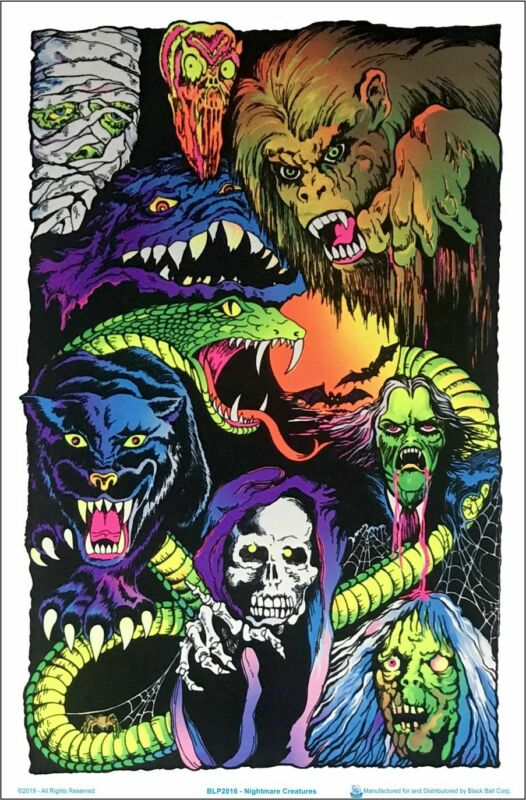"Nightmare Creatures Blacklight Poster - Flocked - 23"" x 35"""