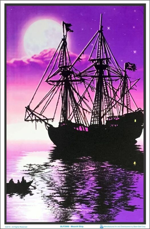 Moonlit Pirate Ghost Ship Blacklight Poster 23 x 35