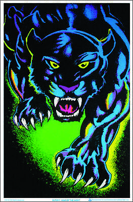 King of The Night Panther Black Cat Blacklight Poster - Flocked - 23