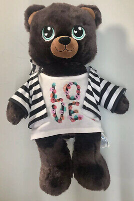 "Build A Bear Sweet Candy Scent Bear Brown Plush 17"" Green Eyes Love Shirt Blouse Honey Bear Sweet"