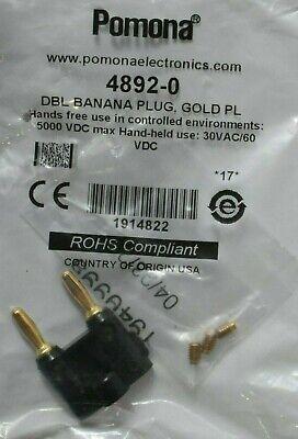 Pack Of 5 Pomona 4892-0 Double Banana Plug Solderless Gold Plated - Black