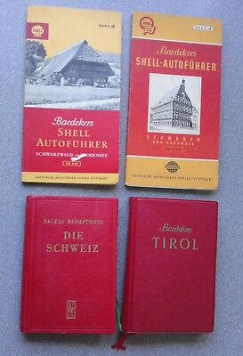 4 x alte Reiseführer Nagels Schweiz - Baedeker Schwaben + Bodensee + Tirol