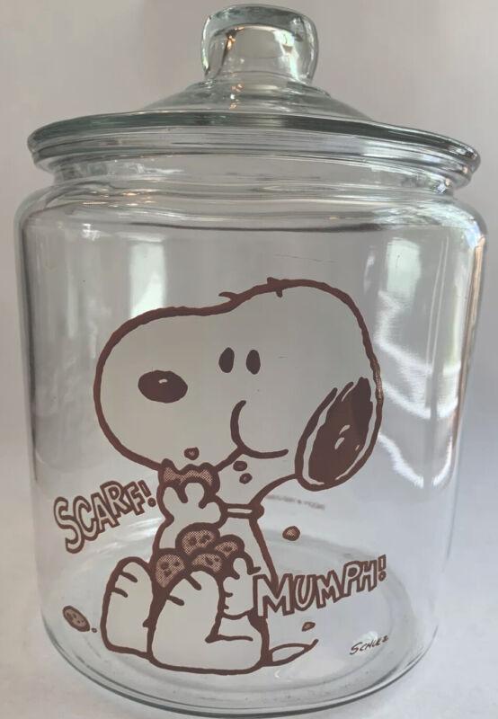 """Vintage Peanuts Snoopy Cookie Jar Anchor Hocking """"I Love Cookies"""""""