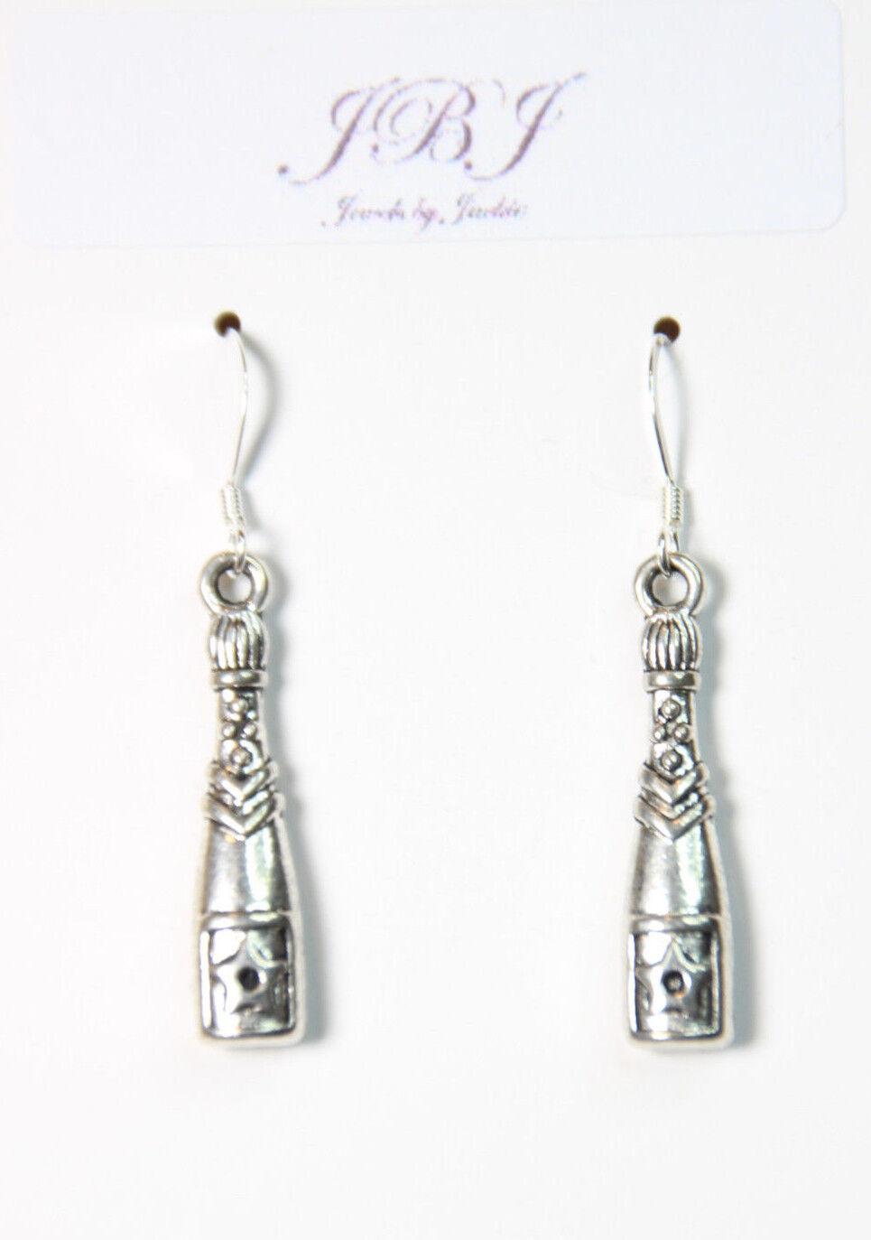 Wine Bottle Earrings Champagne Festival 925 sterling silver