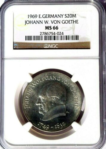 1969 East Germany 20 Marks, NGC MS 66, KM-25, Johann Goethe, Brilliant White