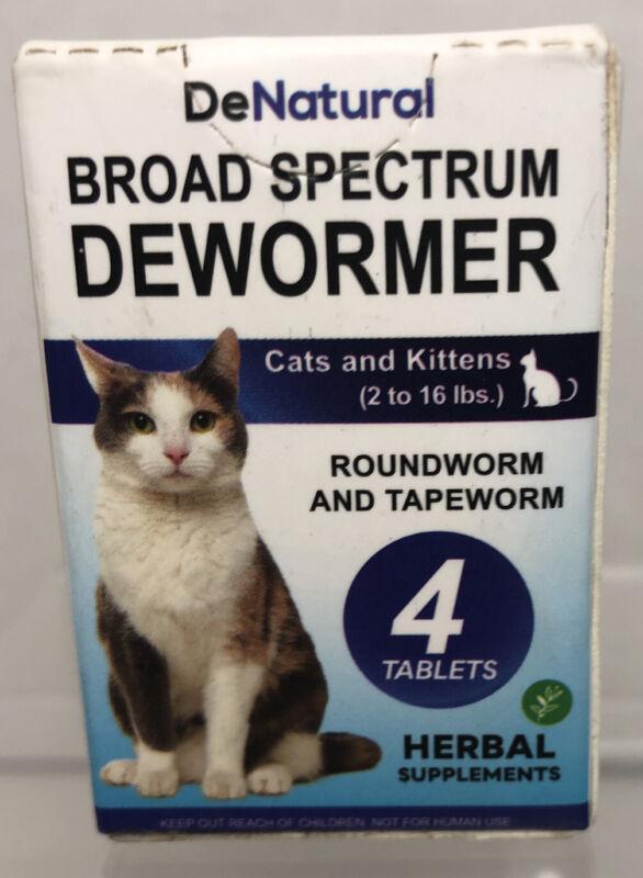 DeNatural Board Spectrum Dewormer Cats/Kittens Treats Roundworm/Tapeworm 4 Tabs
