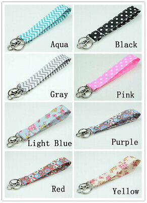 Multi color Double Layers Fabric Wristlets Key Fob Key Ring ()