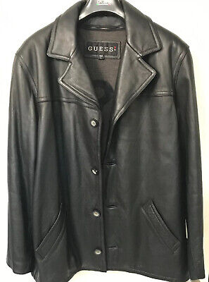 Guess Leather Jacket 4 Button Front Mens Sz.Large Good Preowned Condition Black