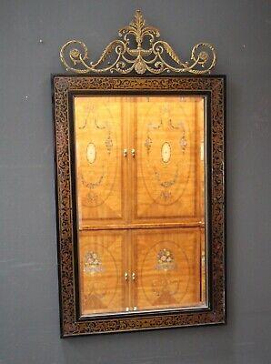 Ornate French Louis antique style Boulle mirror inlaid brass ebonized ormolu