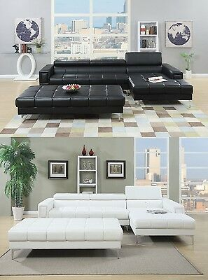 2pc Sectional Bonded Leather Sofa Chaise Tufted Couch Living Room in 2 color New ()
