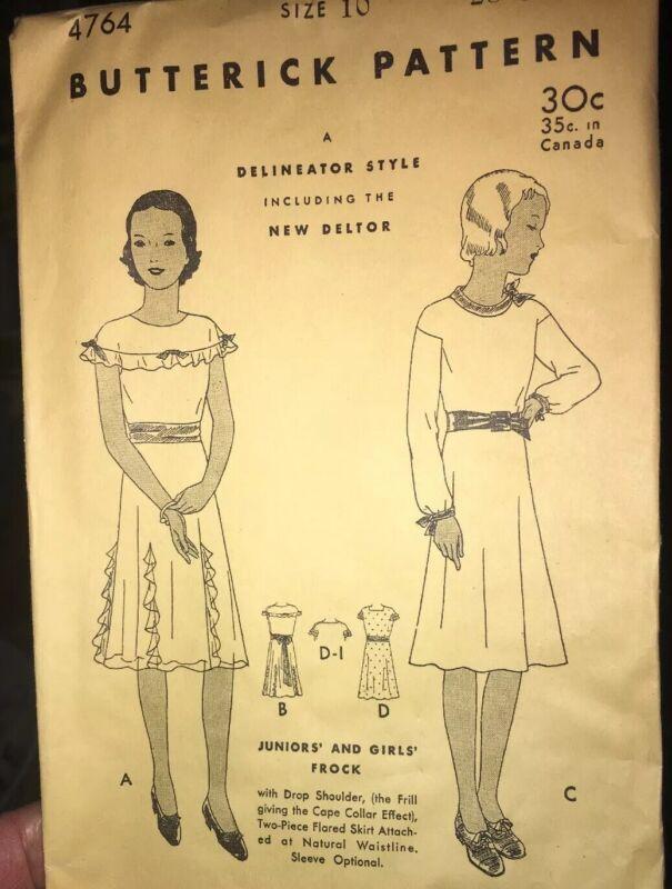 1923 BUTTERICK 4764 Junior Girls Cape Frock Dress Size 10 28 Breast
