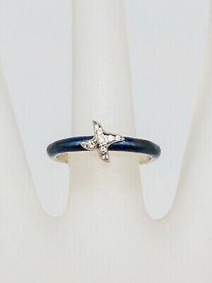 Signed HIDALGO $1350 VS G Diamond 18k White Gold BLUE ENAMEL STAR Band Ring