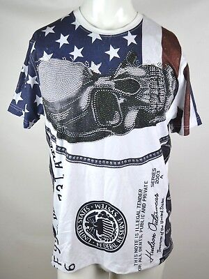Hudson Outerwear 1000 Dollar Bill Usa Flag Rhinestone Skull T Shirt Mens Large