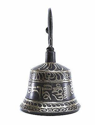 TIBETAN PRAYER INSCRIBED HANDMADE DESKTOP MINIATURE TEMPLE BELL WITH WALL MOUNT