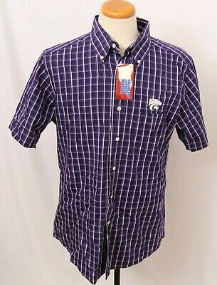 NEW Kansas State K-State Wildcats Antigua Endorse SS Button Down Shirt Men's L