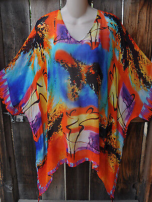 Dilemma Hand Painted Gockel Inspired Crepe De Chine Art To Wear Tunic Os