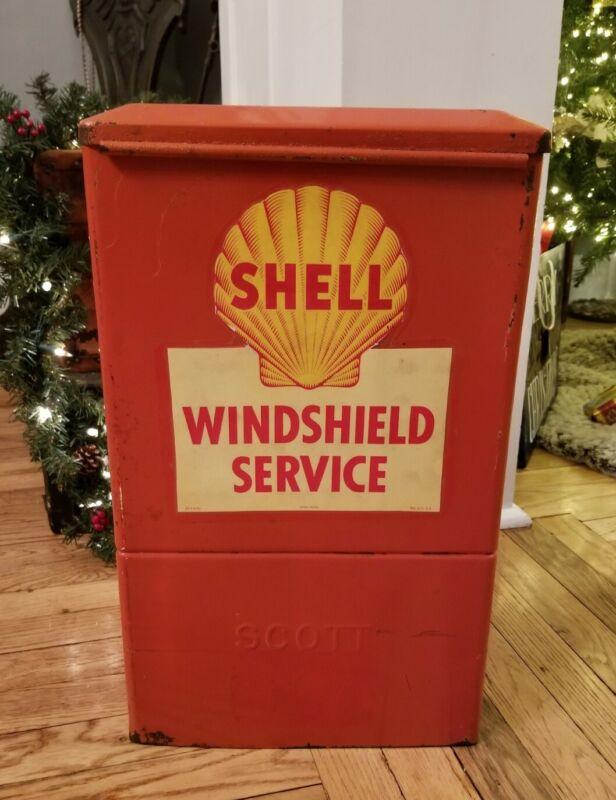 Vintage Shell Oil Co. Windshield Service Island Hanging Box Scott Paper - RARE