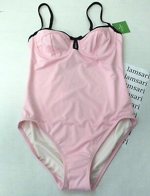 Kate Spade Dive Right In Pink Black Trim One Piece Swimsuit Bathing Keyhole L