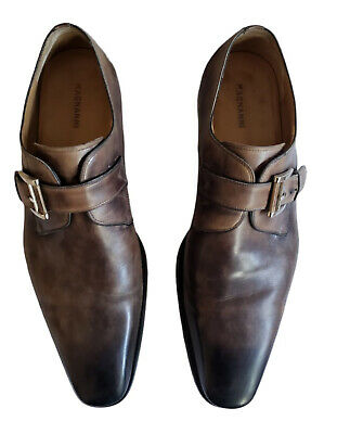 Magnanni Marco Gray Leather Monk Strap Loafers Shoes Sz 11.5 M 504 13276