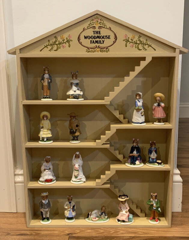 The Woodmouse Family Porcelain 15 Figurines with Family Wood Tree House Display