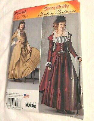 Simplicity Pattern S0498 18-19th Century Dress Steampunk Women 14,16,18,20,22 UC