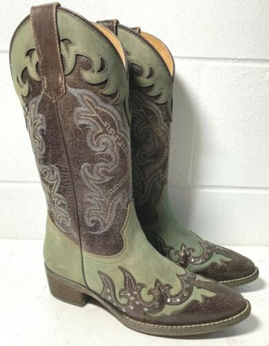 $229 SHERYL CROW Western COWBOY BOOTs SC MARFA size 7.5 Brown/Green signed