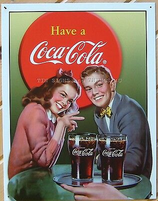 Coca Cola Young Couple TIN SIGN vtg diner nostalgic 50's metal wall decor 1304 ()