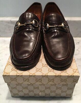 Vtg GUCCI Horsebit Brown Leather Loafers w/ Box Boy's Mens Size US 8.5 EU 41