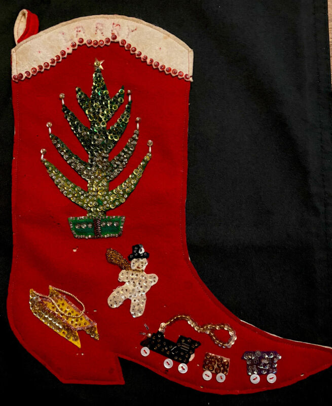 "1930 VINTAGE 13"" Cowboy Boot FELT APPLIQUE SEQUINs Beads CHRISTMAS Tree STOCKING"