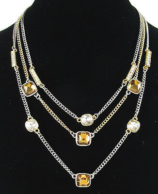 Kenneth Cole New York 'Jeweled Elements' Topaz Hued Bead Illusion Necklace NEW