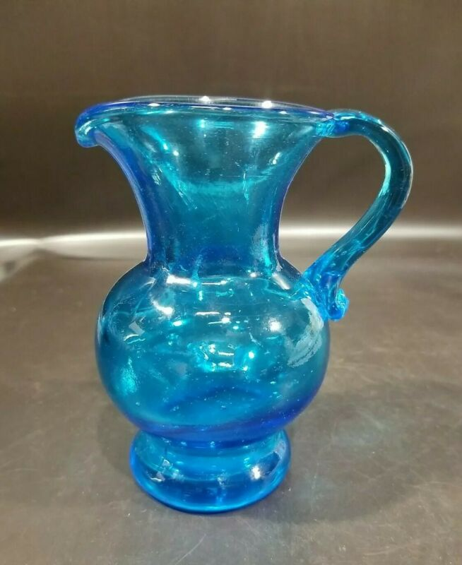 "VTG Clevenger Brothers Glass Pitcher, Blue, 5"" H, Southern New Jersey Glassworks"