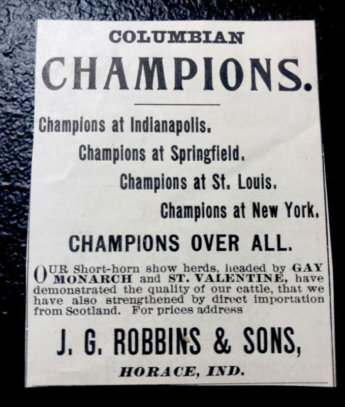 1900 Robbins & Sons Farm Cattle Advertising - Horace - Indiana - Cow