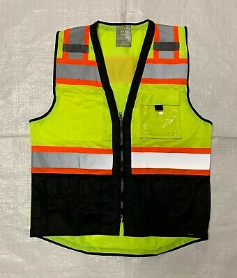 Topcal High Visibility Safety Vest Wsee Through Water Proof Pocket Comm. Grade
