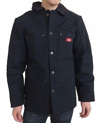 New Dickies Men's Rigid Denim Blanket Lined Work Chore Coat Barn Jacket, Black L ()