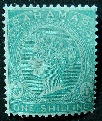 Bahamas 1882 1/- Wmk Crown CA Green SG 44 Unused no gum cat £50