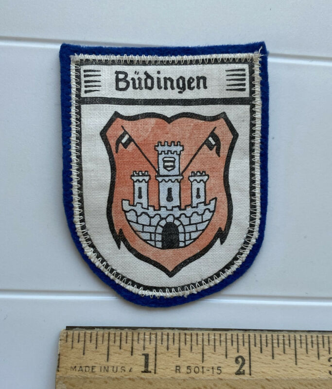 Budingen Medieval German Town Germany Coat of Arms Crest Blue Felt Patch Badge