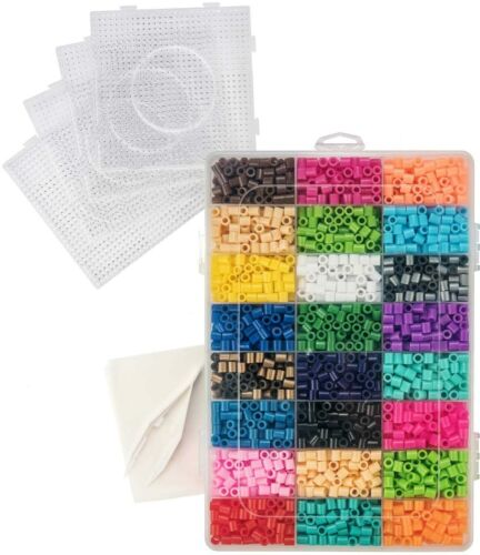 Fuse Bead Kit 5,500 Beads in 24 Colors, 4 Pegboards, 1 Tweezer, 2 Ironing Papers