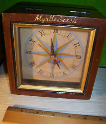 Myrtle Beach Clock in Distressed Wood Hinged Lid Souvenir Box 5 1/2 x 5 1/2 x 4