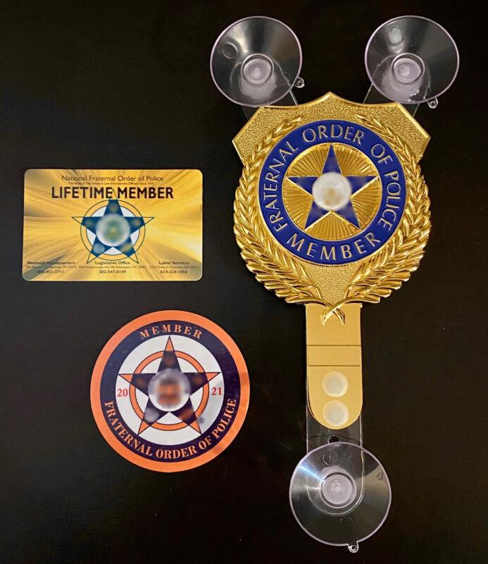 FULL SET: LIFETIME MEMBER PBA POLICE SUPPORTER CAR WINDOW SHIELD + CARD + DECAL