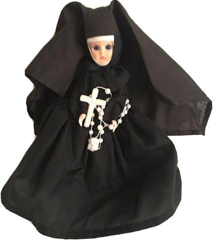 """Vintage Nun Doll, Plastic, Sleepy Eyes, Rosary, Crinoline Petticoat, Unused, 9"""""""