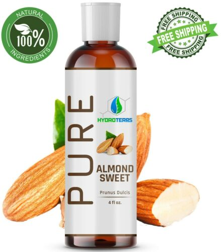 Sweet Almond Oil 4 oz 100% Pure Organic Carrier For Skin, Face, Hair and Massage