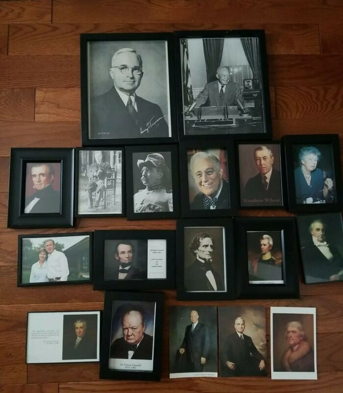 Lot of 18 Presidents & Leaders Pictures, Prints, and Postcards. Most Framed