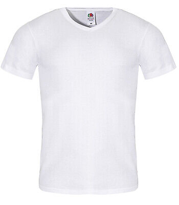5 Stk. Herren T-Shirts mit V-Ausschnitt Fruit of the Loom S-5XL weiß