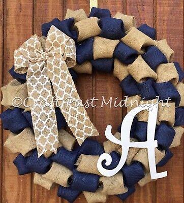 Navy Burlap Wreath - Nautical Decor - Monogrammed Wreath - Initial Wreath - Navy Burlap