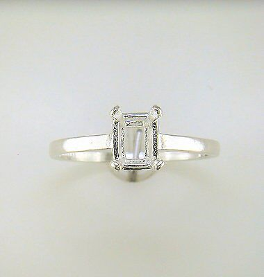 Prong Set Solitaire Ring - Four Prong Emerald Cut Solitaire Ring Setting Sterling Silver