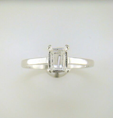 Four Prong Emerald Cut Solitaire Ring Setting Sterling Silver