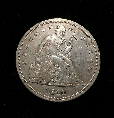 Click now to see the BUY IT NOW Price! 1844 SEATED ONE DOLLAR $1 AU ABOUT UNCIRCULATED  KEY DATE 20,000 MINTED